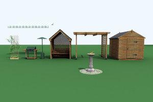 garden set 3d 3ds