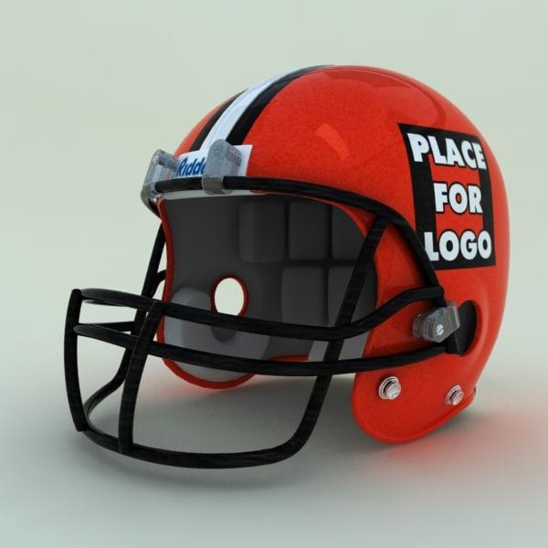 3d 3ds football helmet red