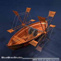 Leonardo boat with shovels