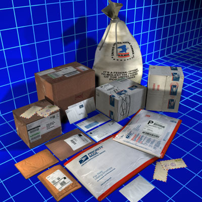 3d mail package 01 model