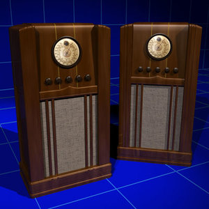 3d vintage radio mulitband console