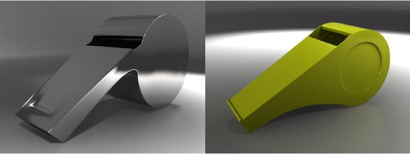 metal plastic whistles 3d model