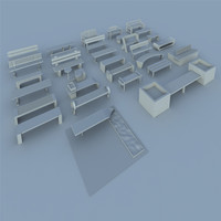 3d model of pack benches