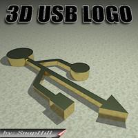 3d model universal usb logo