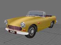 3d mg midget classic car model
