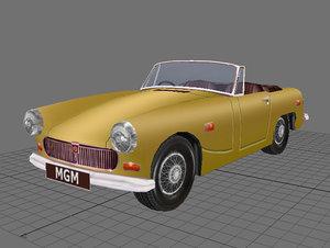 3d mg midget classic car model