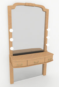 3d model mirror make-up table