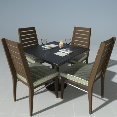 3d dinner table chair