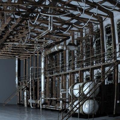 3d factory interior hangar warehouse