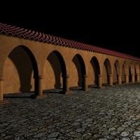 3d model hacienda spanish roof