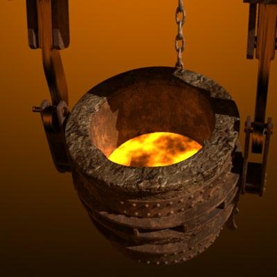 3d model ladle molten metal