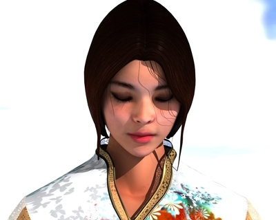 3d samurai woman model