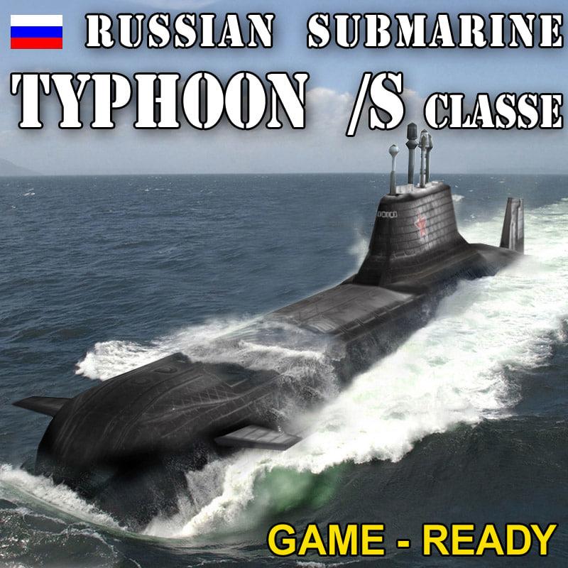 3d model nuclear typhoon class submarine