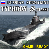 3d model nuclear typhoon class submarine