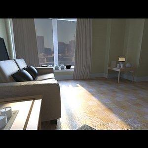 3d urban living dining room model