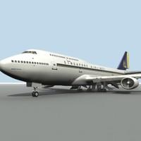 b 747-400 singapore airlines 3d model