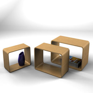 3d birch cubes storage shelving model