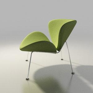 3d artifort chair design orange slice model