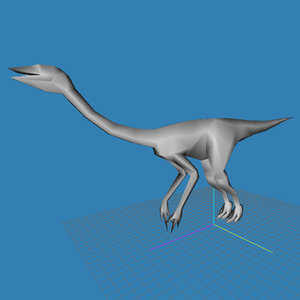 3d obj ostrich ornithomimus struthiomimus