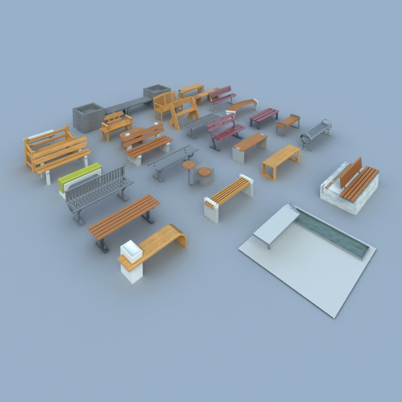 pack benches 3d max