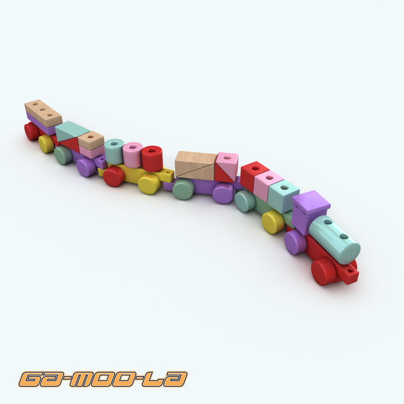 3ds max wooden train