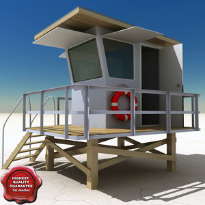 beach lifeguard station 3d obj
