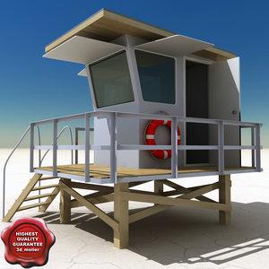 beach lifeguard station 3d obj