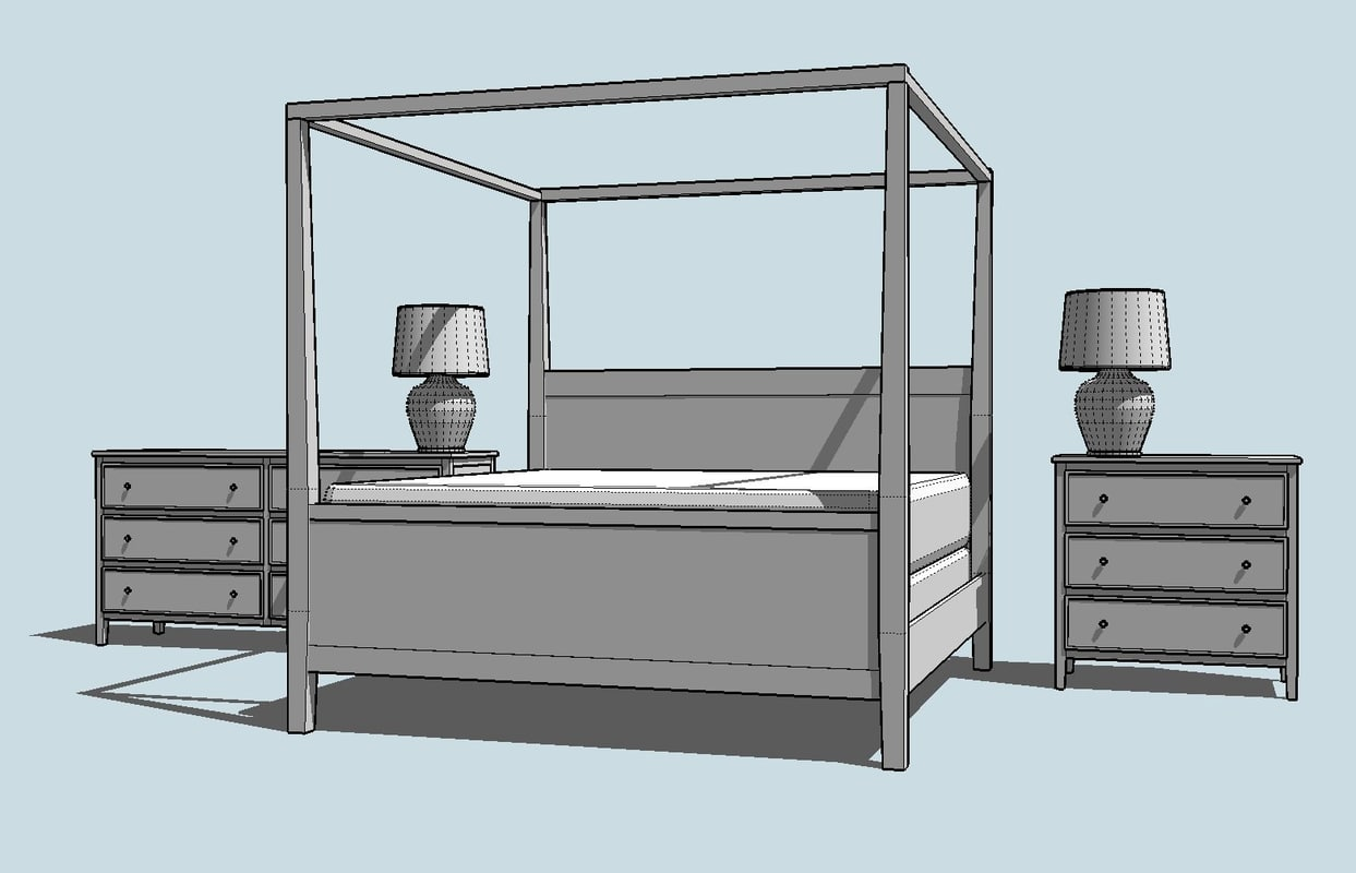 3d kit contemporary canopy bed
