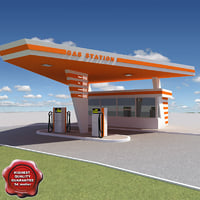 gas station v21 3d 3ds
