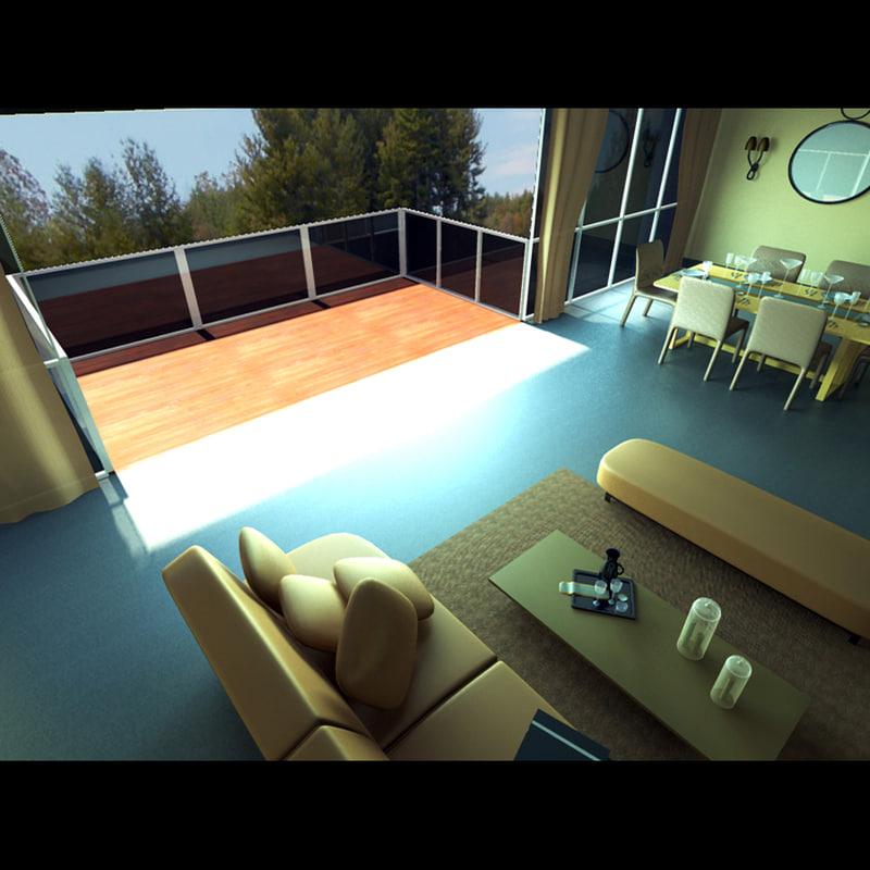 3d modern living room dining model