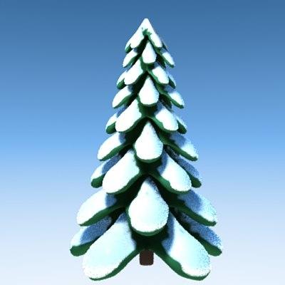 stylized tree snow obj
