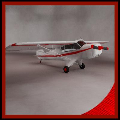 3d model super cub airplane single-engine