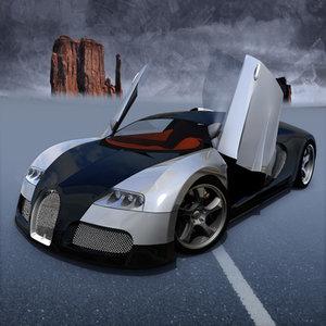 3d model bugatti veyron 2004 concept