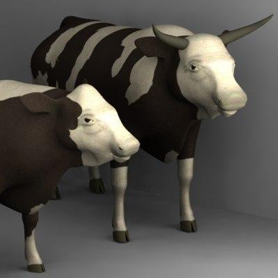 bull cow 3d model