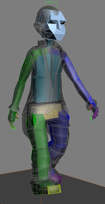 3d character piece walk guy