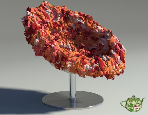 3d model of bouquet armchair orange