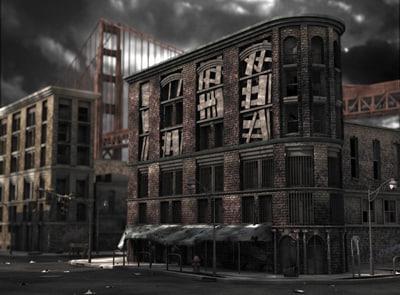 3d run city block model
