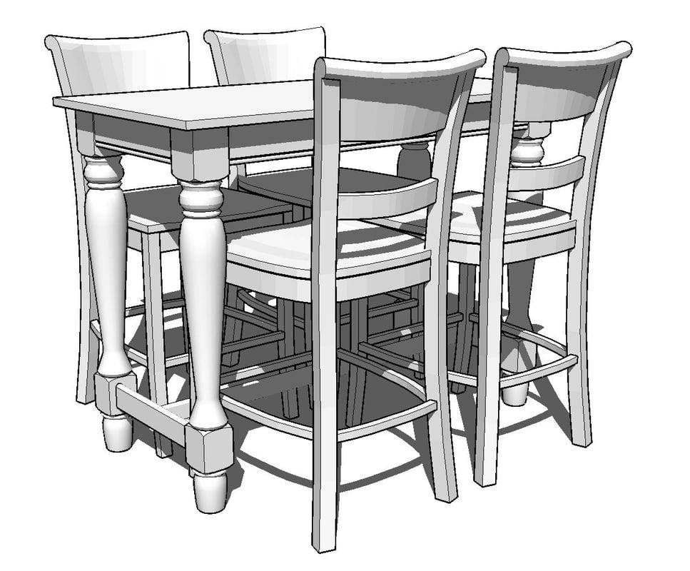3d spindel leg pub table model