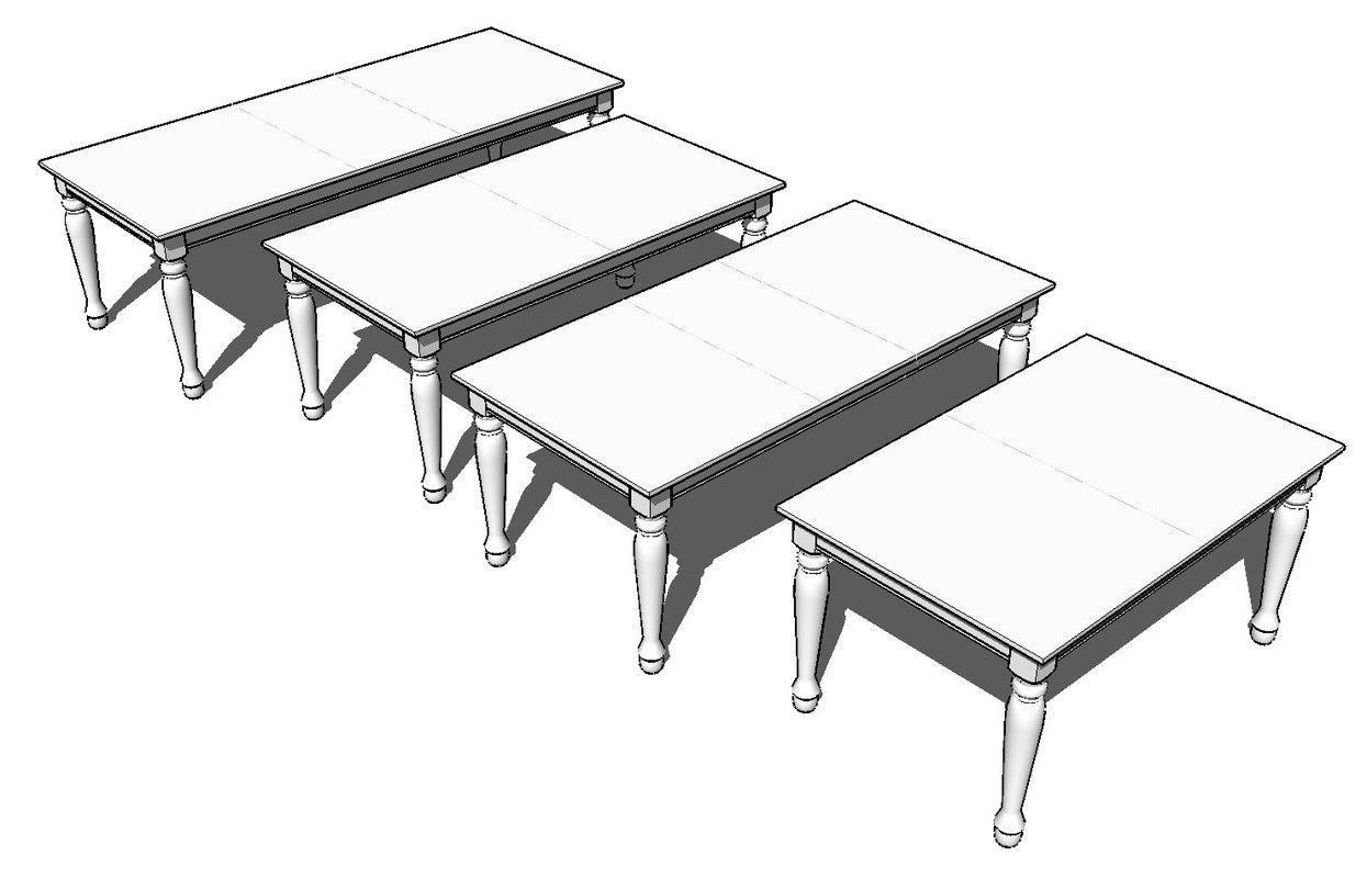 3d spindel leg dining room model