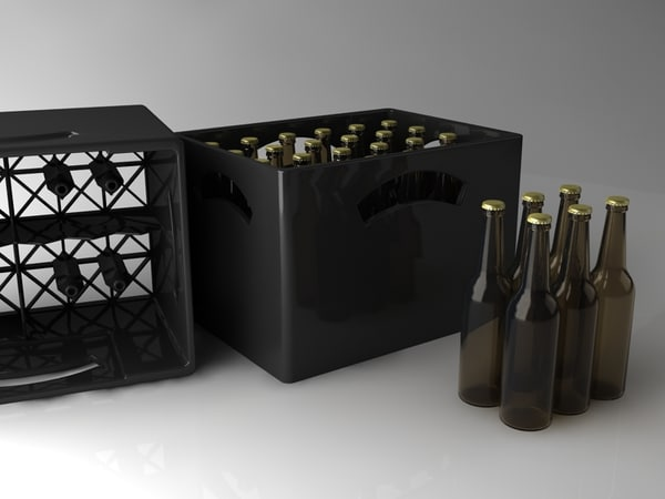 3d beer crate bottles