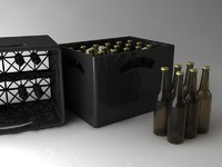3d beer crate bottles