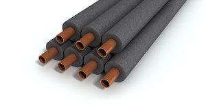 3d copper pipes model