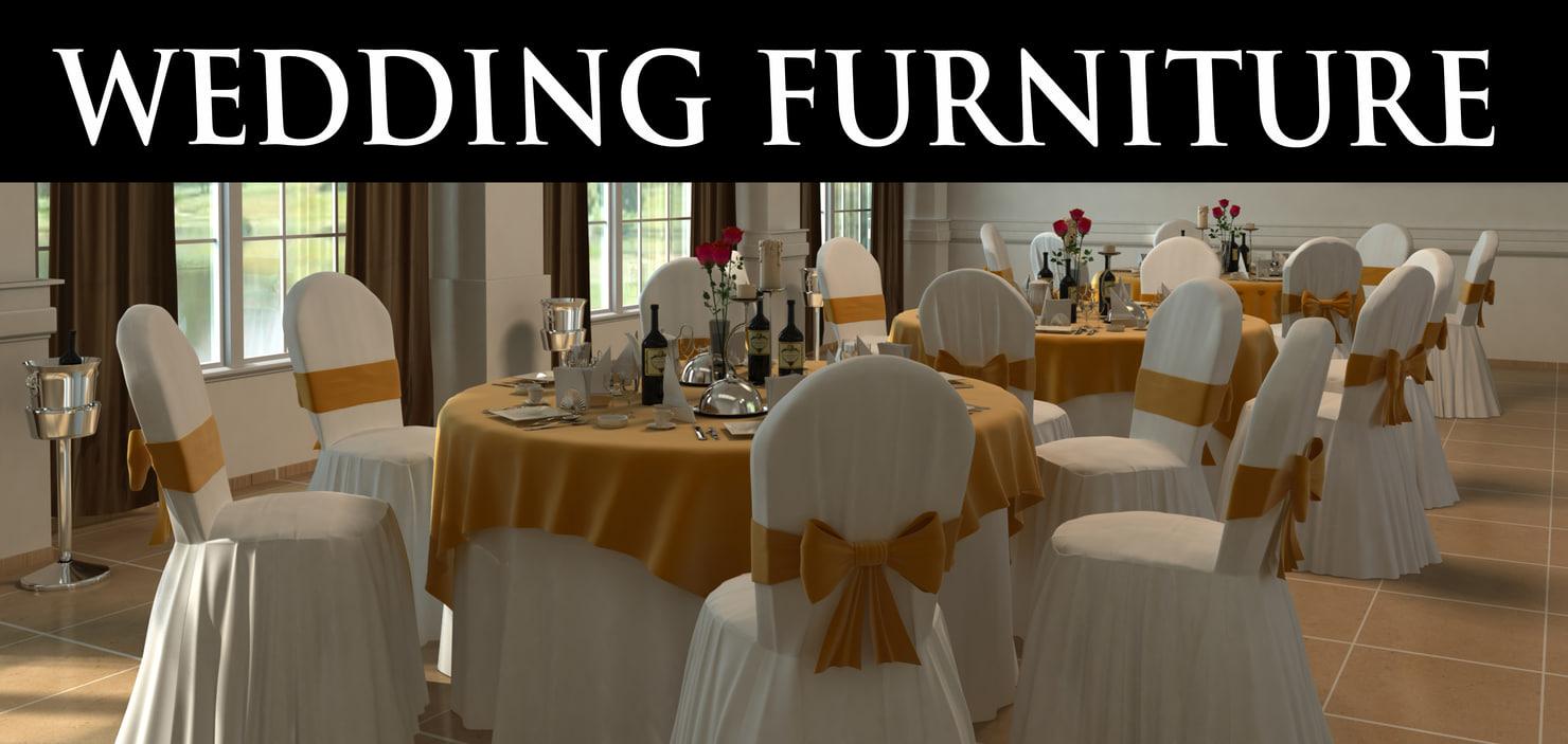 3d wedding chair table scene