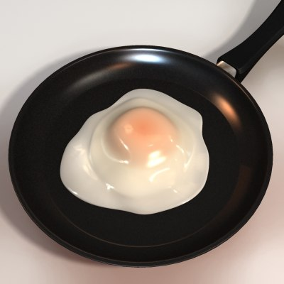 3d pan fried eggs model