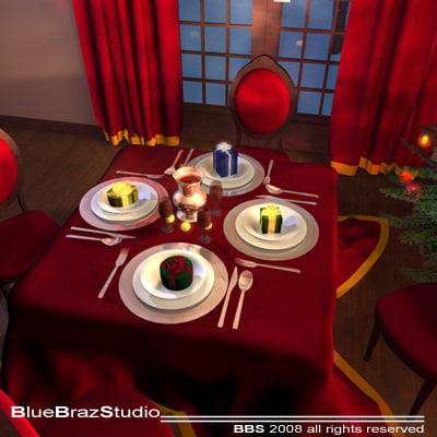 3d xmas dining room model