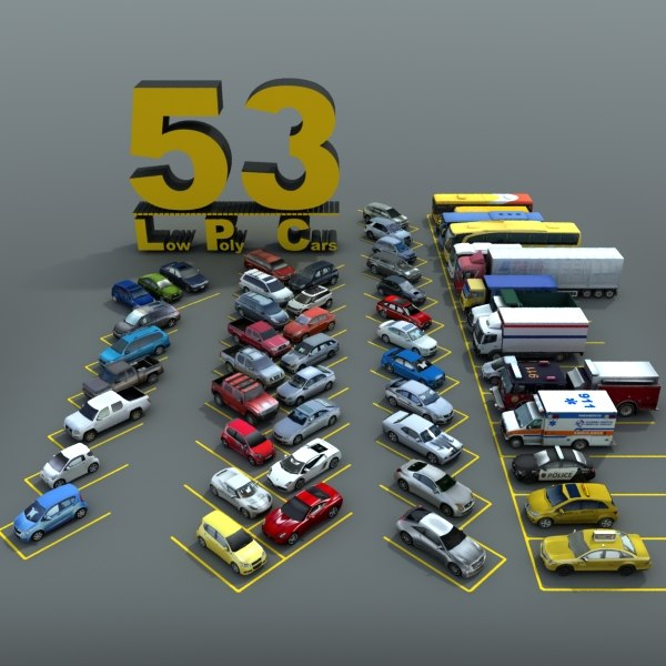 3d model 53 lowpolycars cars