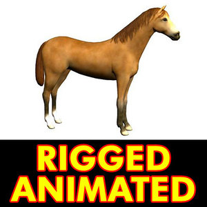 3d horse rigged animation walk