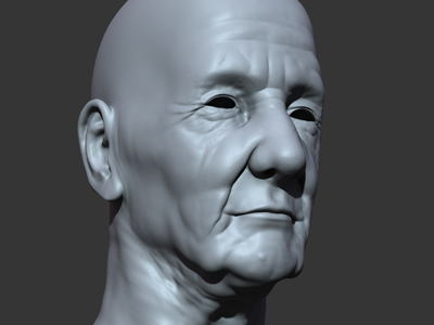 3d head old man polygons