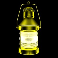 3d model of old lamp night