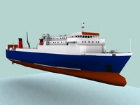 roro ferry vessel ship 3d model